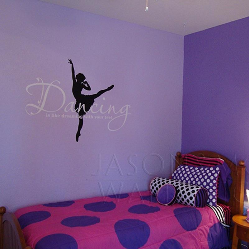 Quotes Ballet Ballerina Wall Sticker Dance Dreaming Feet Vinyl
