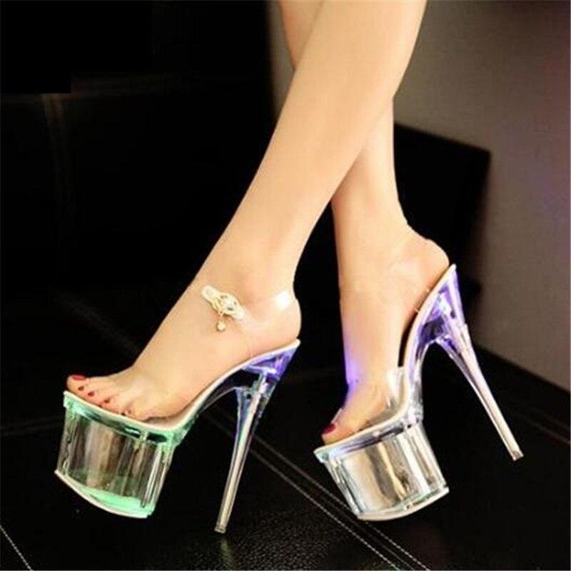 Nouveau 2018 Fluorescence Discothèque Femelle Chaussures De Mariée Chaussures De Voiture Spectacle Femelle Sandales Ultra Hauts Talons 17.5 cm Sandales Transparentes