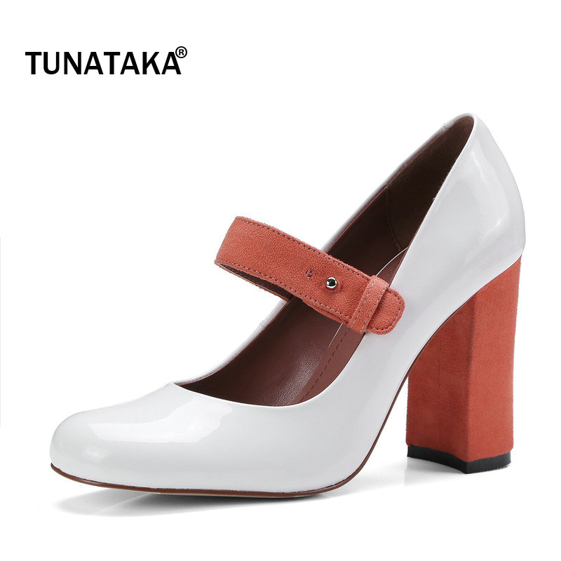 Woman Genuine Leather Thick High Heel Mixed Color Mary Jane Shoes Fashion Buckle Dress High Heel Shoes Spring Autumn Shoes Black
