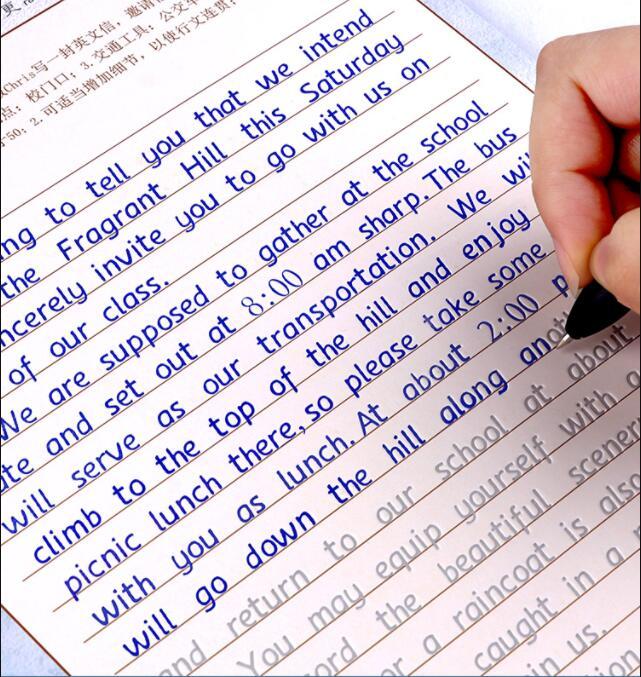 3 books/set English copybook + pens handwriting groove