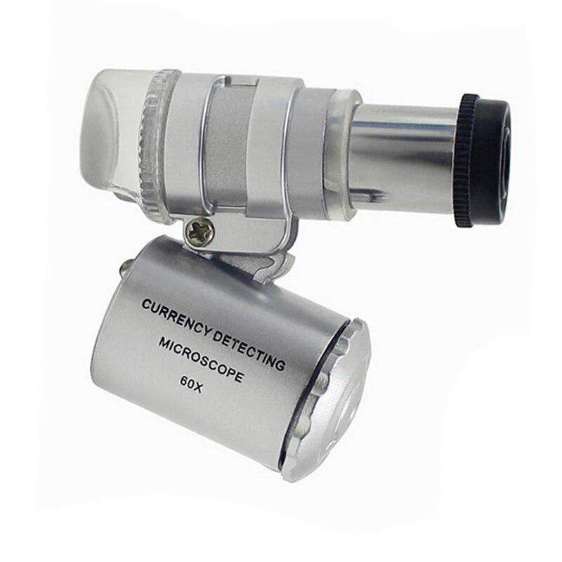 Mini Pocket handheld Jeweller 60X Microscope Magnifier Loupe Glass LED//UV light