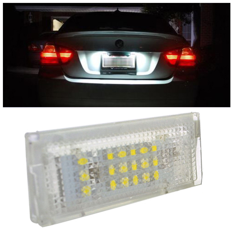 2Pcs 12V Car LED Error Free License Number Plate Light Ultra-White Lamp for BMW E46 5 Door Touring/Estate 1998-2005 2pcs set led license plate light error free for bmw e39 e60 e61 e70 e82 e90 e92 24smd xenon white free shipping