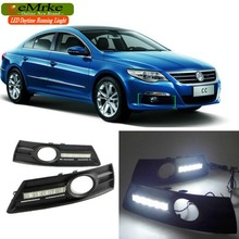 eeMrke LED Daytime Running Lights For VW Volkswagen CC White DRL Light Fog Lamp Cover Kits