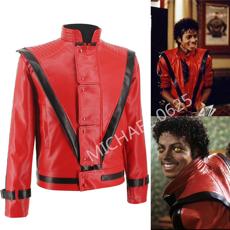 discount exquisite style exclusive range US $71.14 15% OFF|Rare Classic XS 4XL MJ MICHAEL JACKSON Thriller Night Red  Leather Jacket For Fans Best Halloween Costume Christmas Gift in 1980s-in  ...