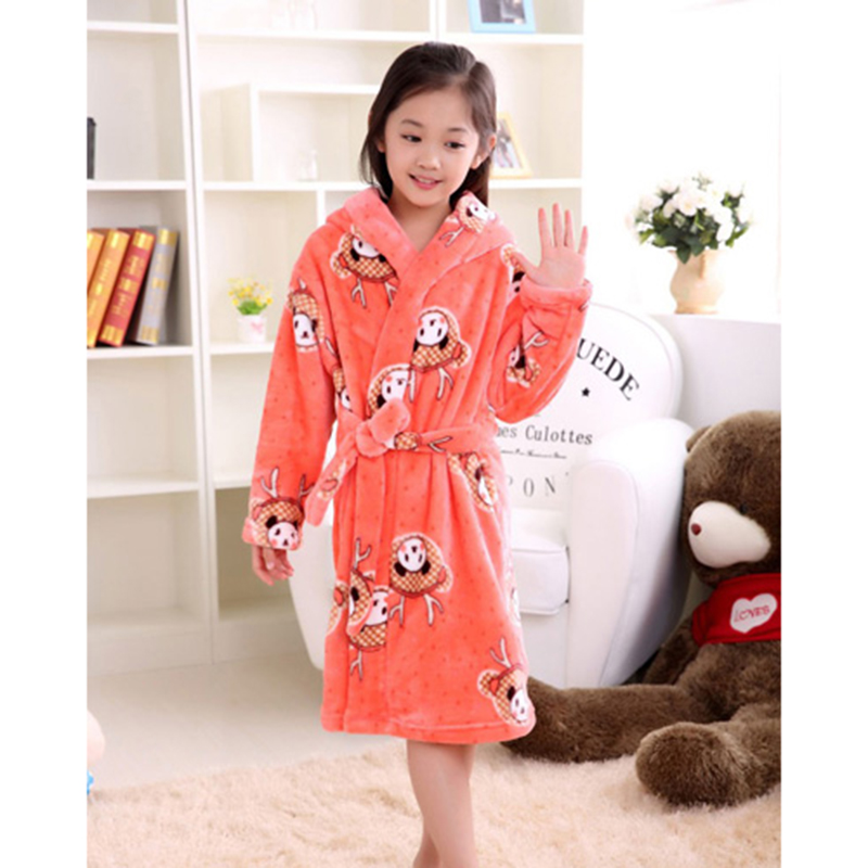 High Quality Soft Flannel Childrens Bathrobe Kids Winter Home Wear Pajamas Girl Cartoon Panda peignoir enfant Gown Hooded Robes