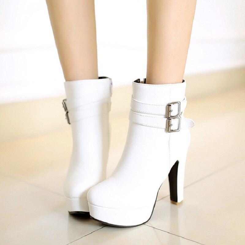 Style britannique nouveau automne et hiver femmes mode talons hauts bottines à lacets épais chaussons blanc noir jaune