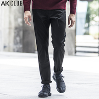 AK CLUB Brand Men Pants Five Pockets Straight Pants Full Length Cotton Twill Slightly Elastic Fabric Men Casual Pants 1712050