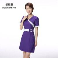 purple beauty clothing guide medical clothing nurse work tattoo clothing doctor clothing Short sleeve uniform spa