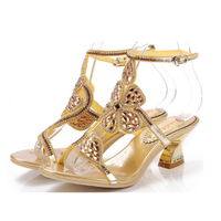 Small Size 33 34 Sheepskin High Heel Sandals Gold Women Rhinestone Shoes Hollow Flowers Sandals Bridal