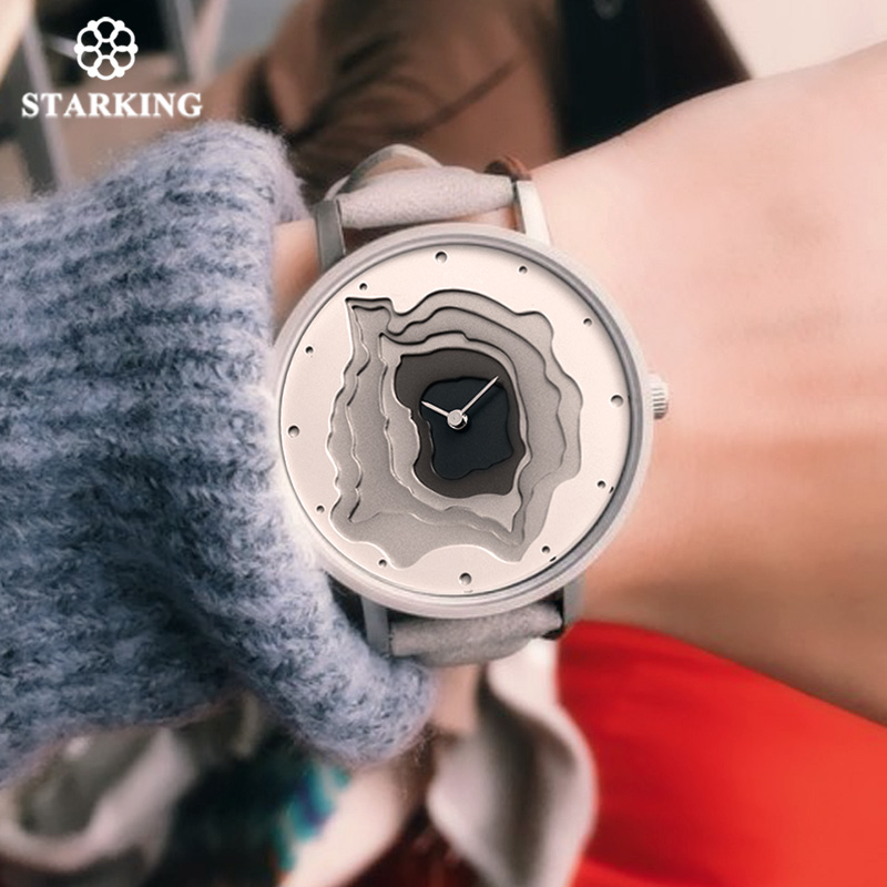STARKING Fashion Unisex Casual Creative Watch Gray Leather Men Novelty Quartz Watch Waterproof Female Wristwatch Hodinky Sport