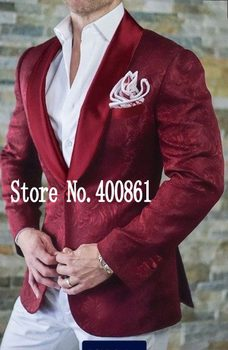 High Quality Burgundy Paisley Mens Suits Groom Tuxedos Groomsmen Wedding Party Dinner Best Man Suits(Jacket+Pants+Bow tie)K:2328