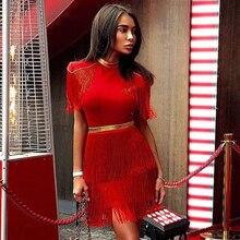 Adyce 2020 nowy letni czerwony Fringe Celebrity wieczór Runway Party Dress kobiety Sexy frędzle czarna sukienka klubowa z krótkim rękawem Vestidos