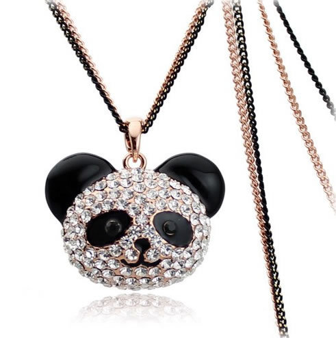 Wholesale black eye Winnie sweater chain -necklace Teddy Bear gold