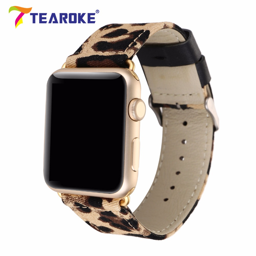 TEAROKE Cool Leopard Painting Nylon Leather Watchband For Apple Watch 38mm 42mm Stylish Women Men Replacement