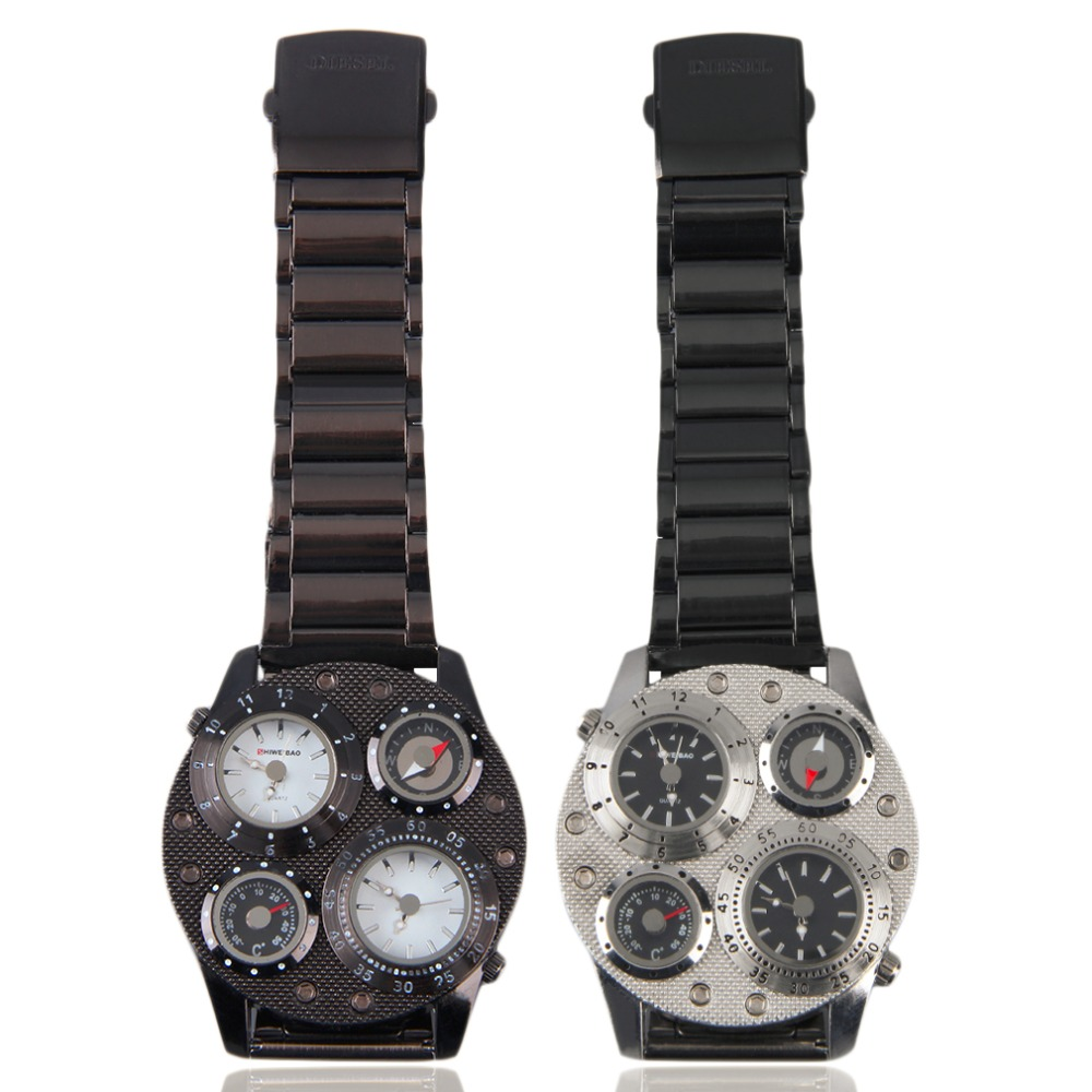 OUTAD Нержавеющаясталь Dual Time Компасы термометр Повседневные часы Для мужчин кварцевые часы предпочел путешествия Роскошные Relogio Masculino