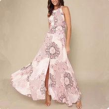 women summer sexy slit dress 2018 floral print beach dress boho halter neck  long dress Elegant maxi dress female vestidos e9c2242ac385