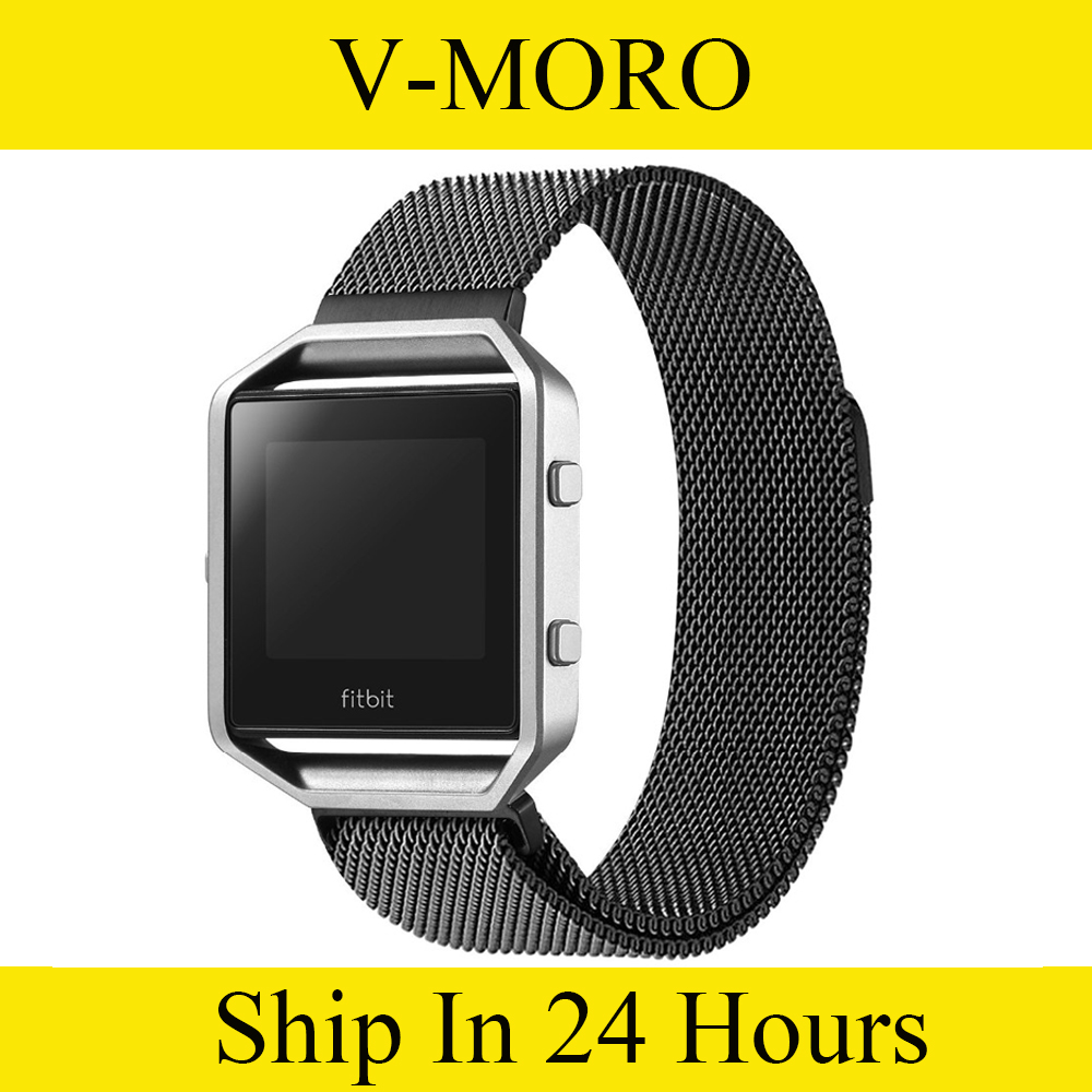 V-MORO Milanese loop stailess steel Bracelet Strap for Fitbit Blaze Smart Fitness Watch Black, Silver,Rose Gold от Aliexpress INT