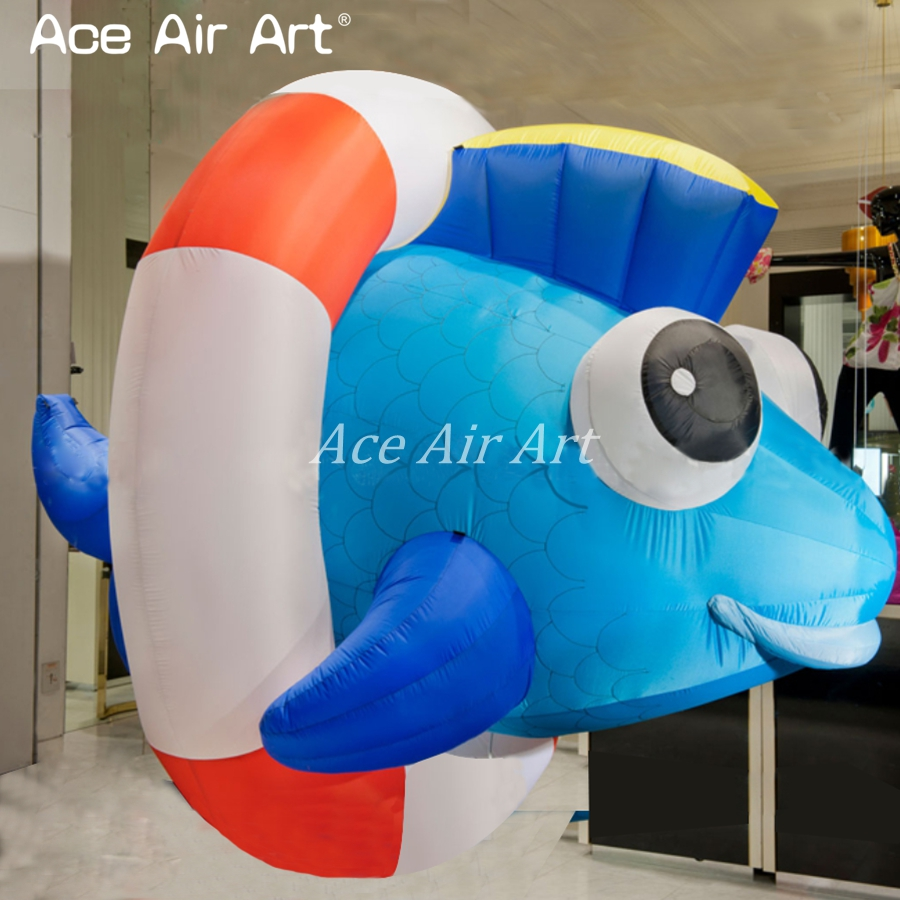 beautiful hanging up giant cute inflatable tropical fish balloon for event and advertising come with fan