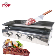 ITOP 3 Burners Gas BBQ Grills Barbecue For Outdoor Camping LPG Griddle Plancha Stainless Steel