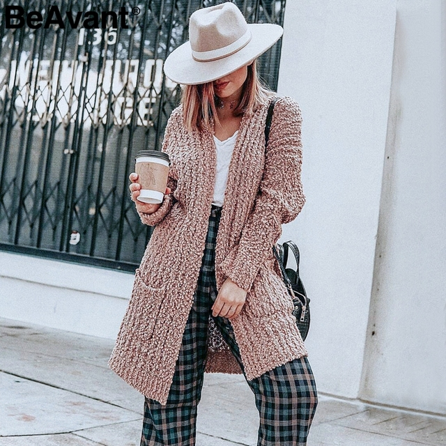db0cd5536c BeAvant Casual chenille pockets knitted cardigan women Soft oversized long cardigan  sweaters 2018 Tricot winter pink
