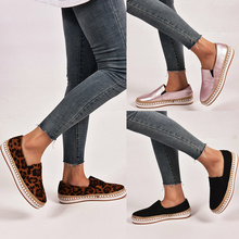 Europe Spring/Autumn 2019 Women Shoes Flats Leopard Fashion Loafers Boat Shoes Fisherman Slip-on Shallow Low-cut Plus Size 35-43 цена