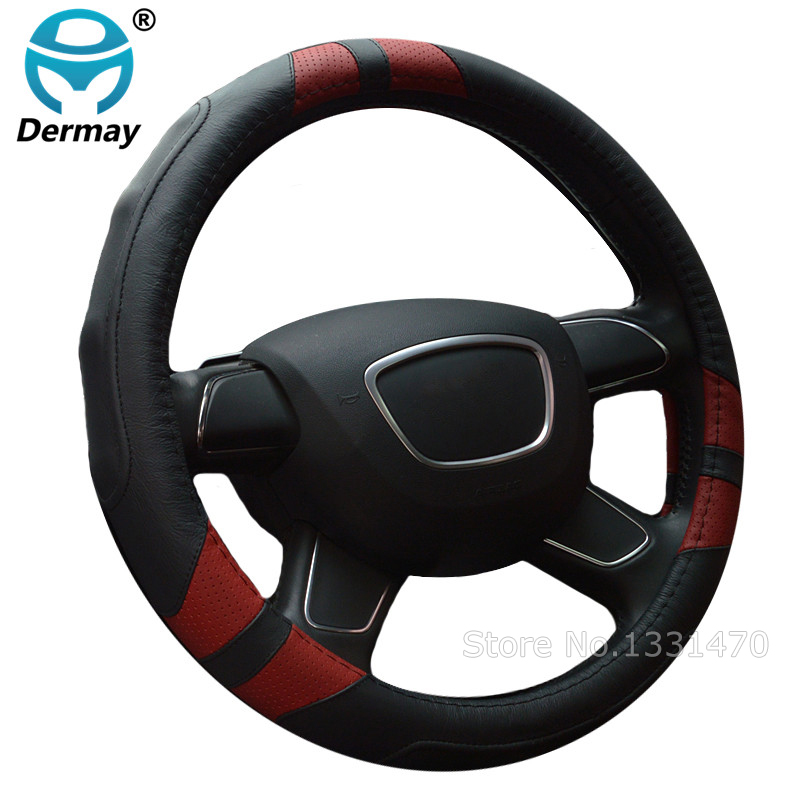 DERMAY High Quality Car Genuine Leather Steering Wheel Cover Massage M size for Lada Ford Nissan VW Skoda Chevrolet etc. 98% Car dermay high quality car genuine leather steering wheel cover massage m size for lada ford nissan vw skoda chevrolet etc 98% car