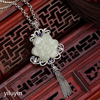 KJJEAXCMY     Fine jewelry S990, hollowed out, clover flowers, riches and fringes, pure silver Thai silver sweater chain pendant