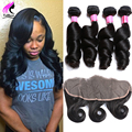 7A Lace Frontal Closure With Bundles Loose Wave Peruvian Virgin Hair With Closure 4 Bundles Peruvian Loose Wave With Closure