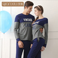 Qianxiu Men women Pyjama femme cotton Fashion Patchwork Sleep top Spring Couples Matching Pajamas