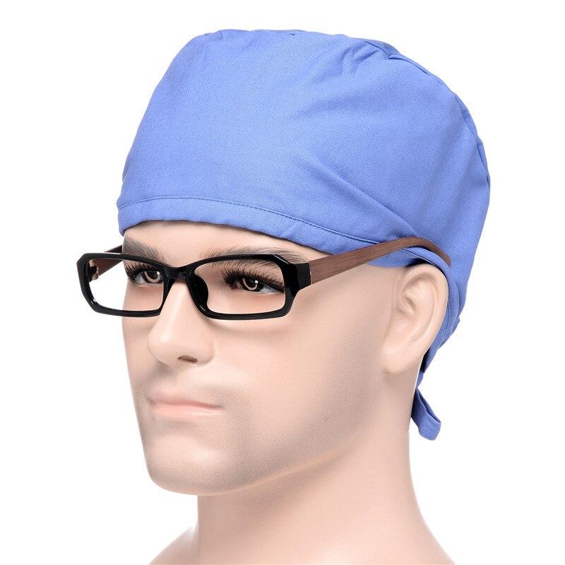 Yufeida New Style Unisex Doctor Scrub Caps  and Mask Adjustable Banded Doctor Surgery Unisex Caps Solid Caps and Mask