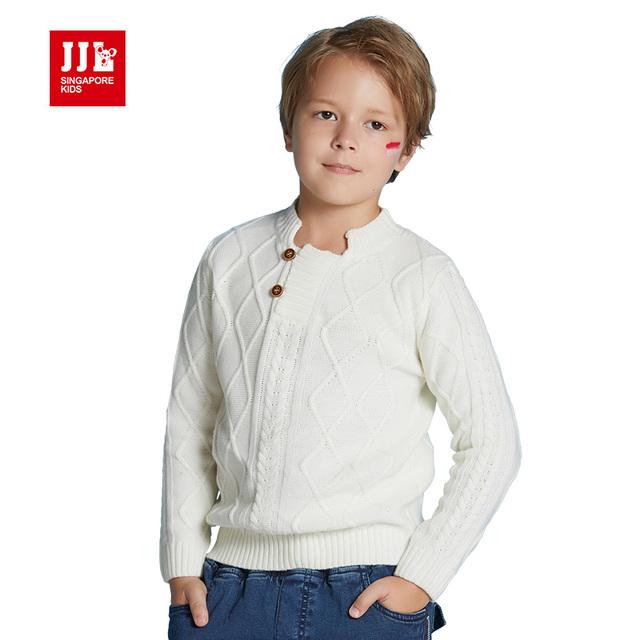 Crianças pullover menino camisola menino camisola de lã de malha crianças meninos desgaste do inverno tops branco padrão meninos de varejo de vestuário
