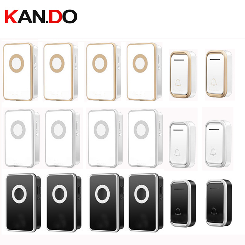 купить 2 emitters 4 receiver wireless door bell set by 110-220V doorbell IP44 long range 300M door chime door ring big house use по цене 2629.37 рублей