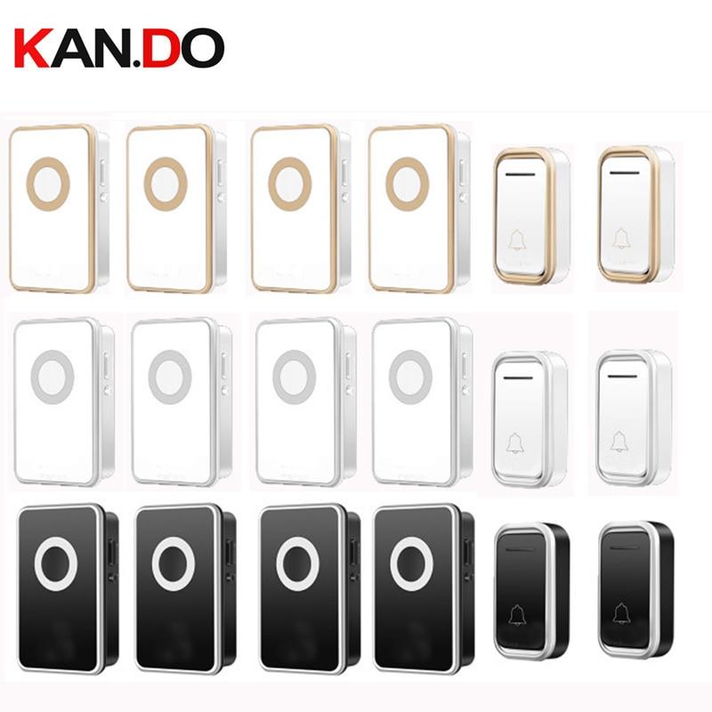 2 Emitters 4 Receiver Wireless Door Bell Set By 110-220V Doorbell IP44 Long Range 300M Door Chime Door Ring Big House Use