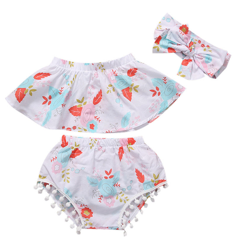 Off Shoulder Sleeveless Tops Vest Shorts Headband 3pcs Clothing Outfits Cute Newborn Baby Girls Clothes Sets Floral
