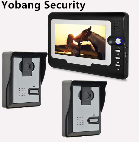 Yobang Security freeship Video Intercom 7TFT indoor Monitor+2 Outdoor Doorbell phone IR Camera Home Entry Security System yobang security freeship 7 video intercom for villa 2 monitor doorbell camera with 5pcs rfid cards hd doorbell camera in stock