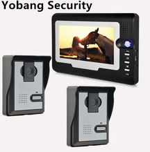Yobang Security freeship Video Intercom 7″TFT indoor Monitor+2 Outdoor Doorbell Camera Home Entry Security System
