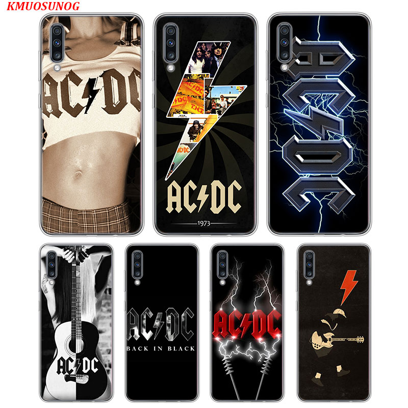 Transparent Soft Cover AC DC Poster Music For Samsung Galaxy A70 A90 A80 A60 A50 A40 A30S A20E A20S A10 Phone Case