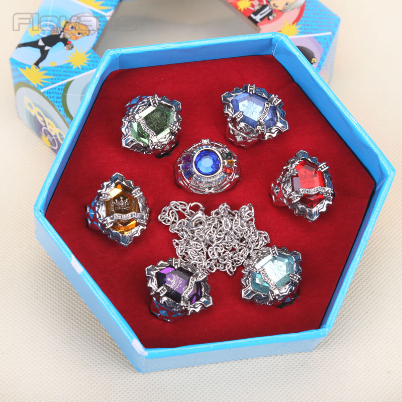 Anime Hitman Reborn Cosplay Rings Metal Figures Toys Colltible Models 7pcs/set