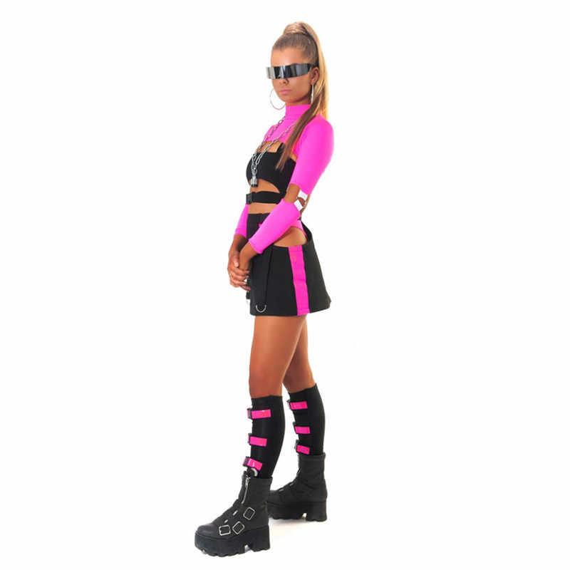 ZKYZWX Весенняя Повседневная водолазка с длинными рукавами, кроп топы, Новое поступление 2019, Женская неоновая зеленая розовая уличная футболка, топ, женская футболка