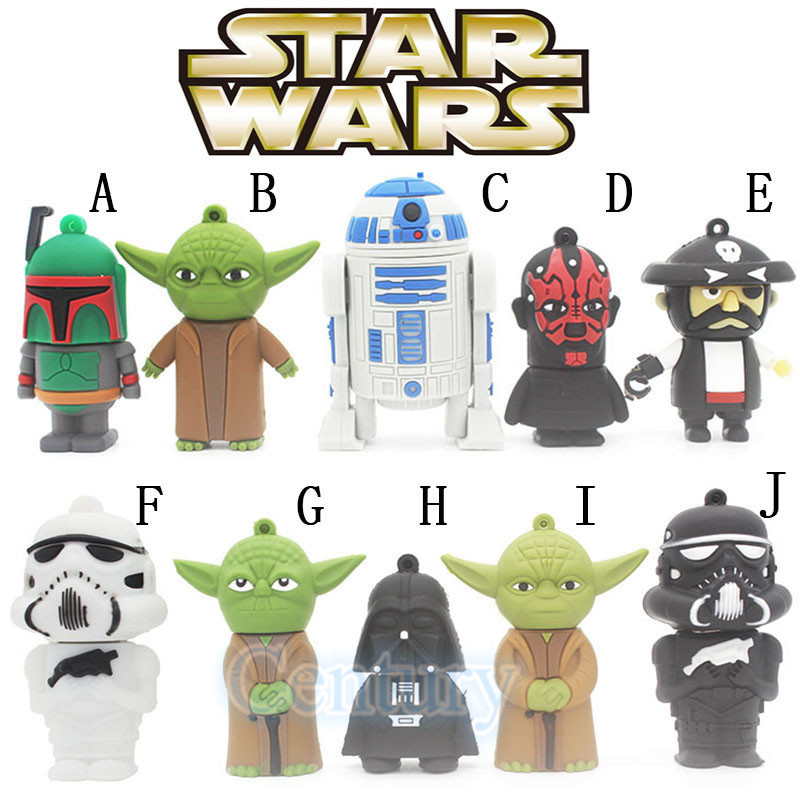 Star Wars Darth Vader/Yoda R2D2 USB Flash Drive Pendrive Pen Drive 4gb 8gb 16gb 32gb U Disk Memory Stick Key USB Creative Gift