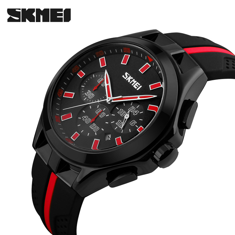 SKMEI Men Quartz Watch Six pin Stopwatch Chronograph Sports Watches Men Waterproof Fashion Casual Wristwatch skmei 9058 men quartz watch page 5