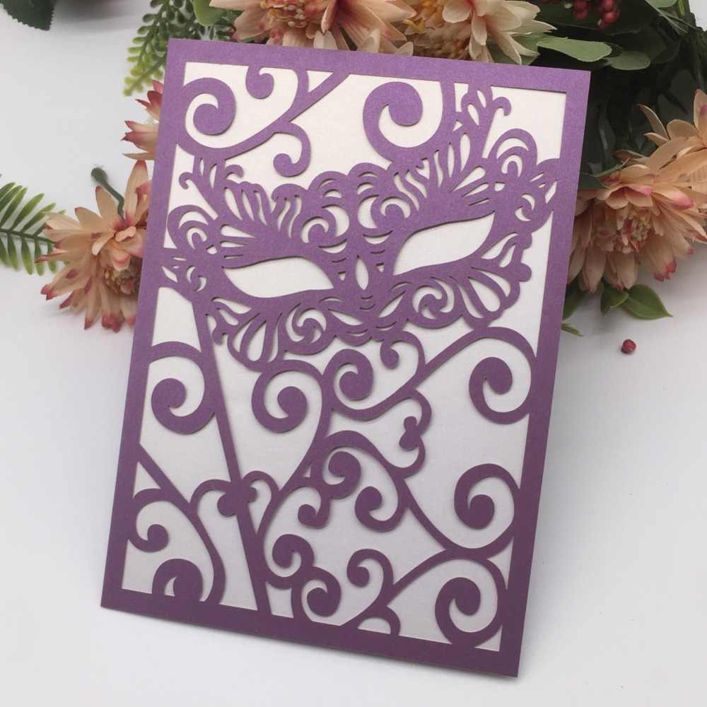 50Pcs Lot Personalized Mask Design Laser Cut Wedding Invitation Latest Birthday Gift Card Carnival Supplies