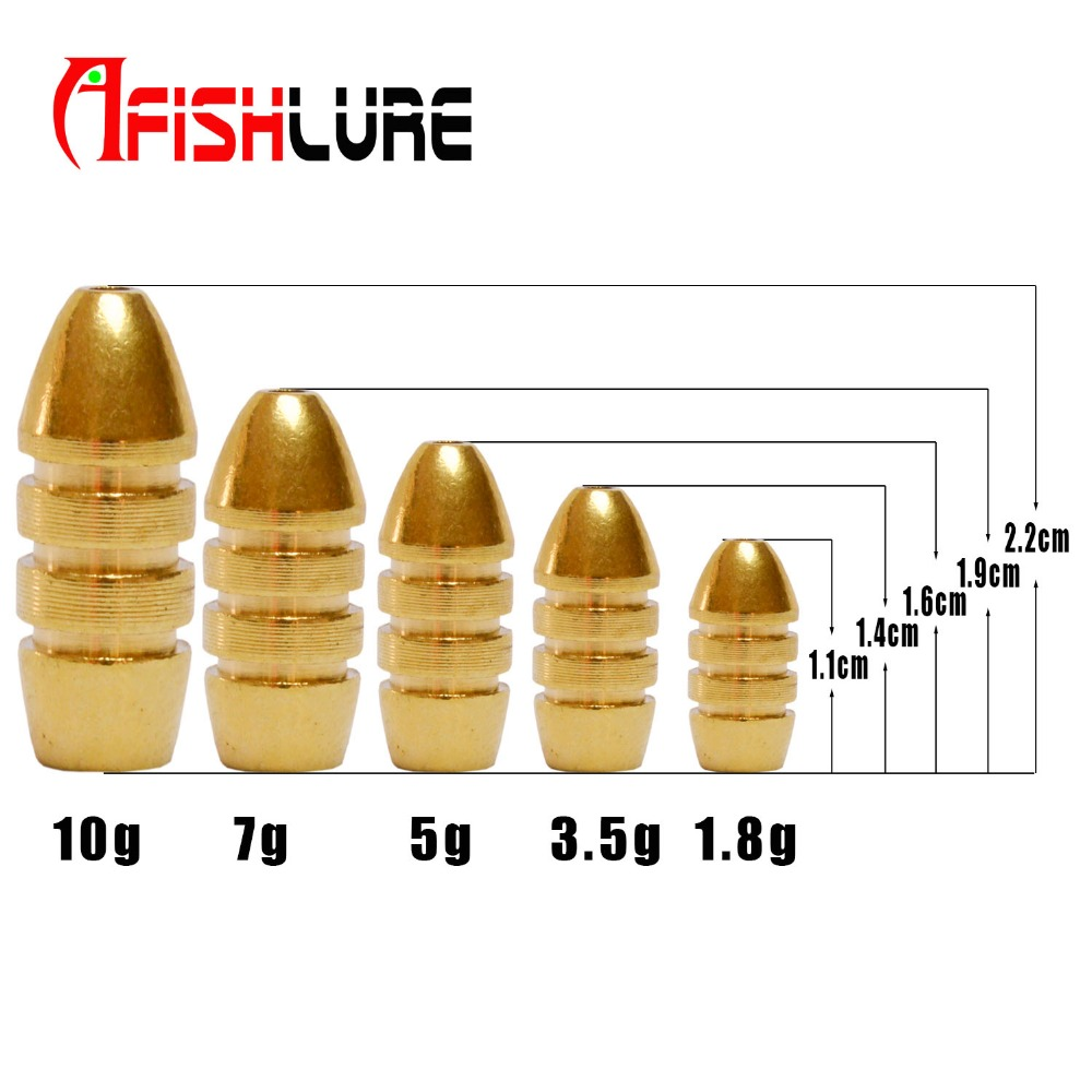 Afishlure Threaded Copper Bullet Pendant 1.8g/3.5g/5g/7g/10g Pure Copper Fishing Lead Soft Lure Accessaries Fishing Tackle Pesca