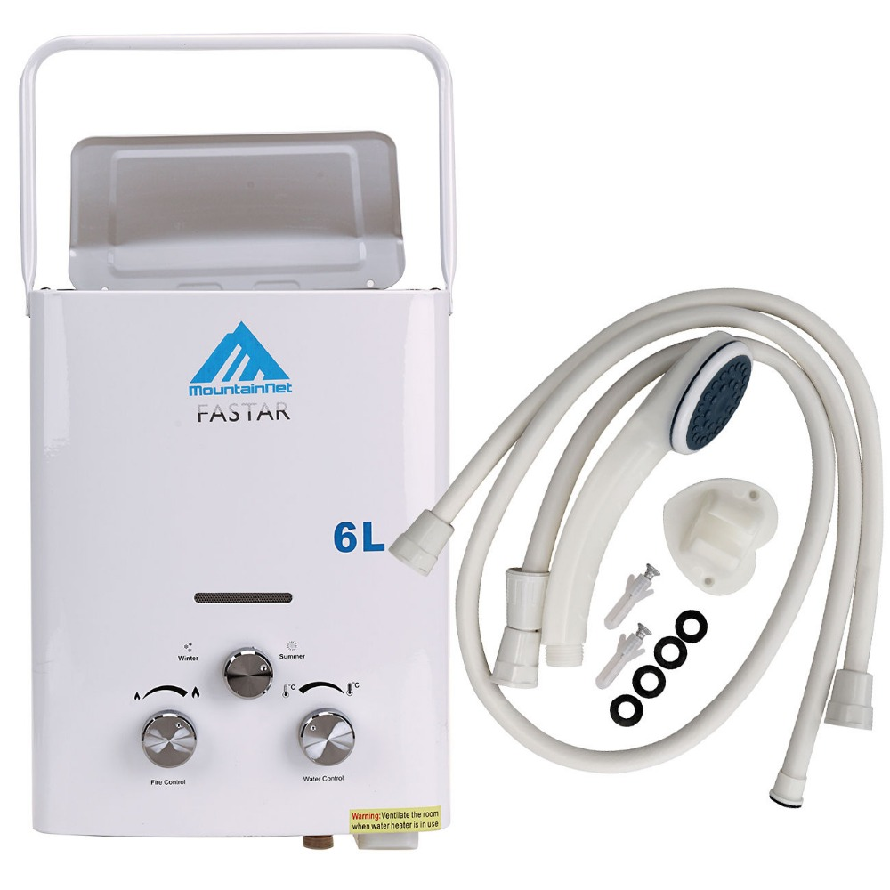 EU Free Shipping Update 6L LPG Propane Gas Tankless Instant Boiler Outdoor Camping Hiking Hot Water Heater with Shower Head