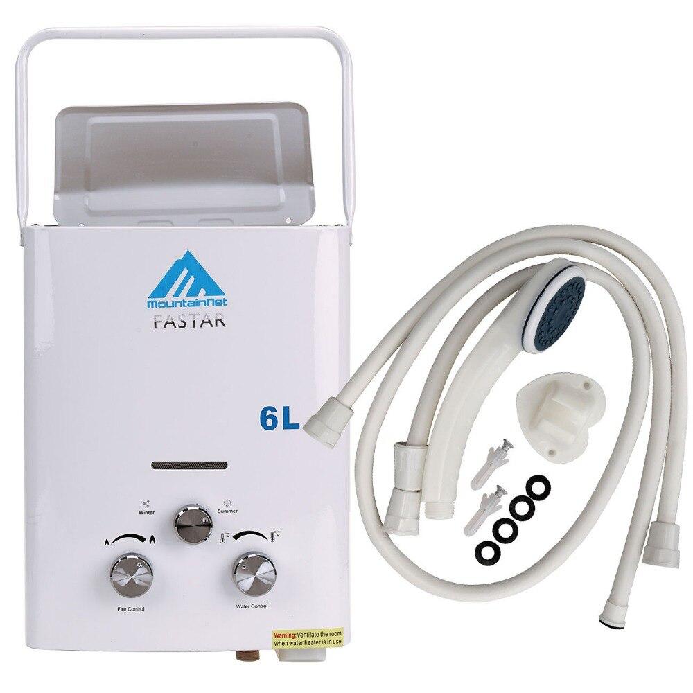 Ue livraison gratuite mise à jour 6L LPG Propane gaz sans réservoir chaudière instantanée Camping en plein air randonnée chauffe-eau avec pomme de douche