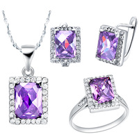 wholesal Zircon Genuine Mystic Fire Rainbo Gem AustrIa gem Ring Pendant Earrings set Women's White Gold Filled Chain