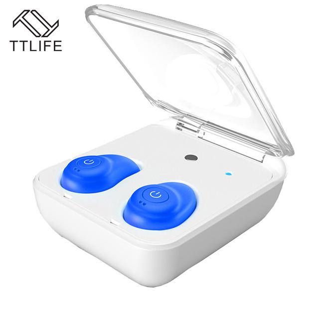 Estilo Airpods TTLIFE Novo Bluetooth 4.1 Sem Fio fone de Ouvido Estéreo de Fone de ouvido com Cancelamento de Ruído fones de Ouvido Mini Com 2000 mAh Banco de Potência