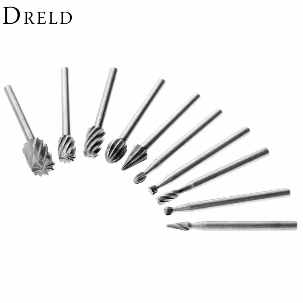 10Pcs HSS Wood Drills Rotary File Dremel Rotary Tool Mini