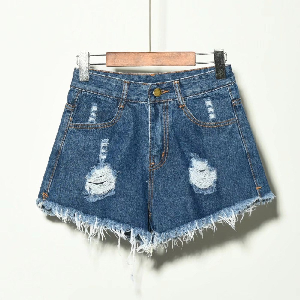 2019 Fashion Women Tassel Short Jeans Hole Plus Size Sexy Jeans High Waist Solid Denim Jeans