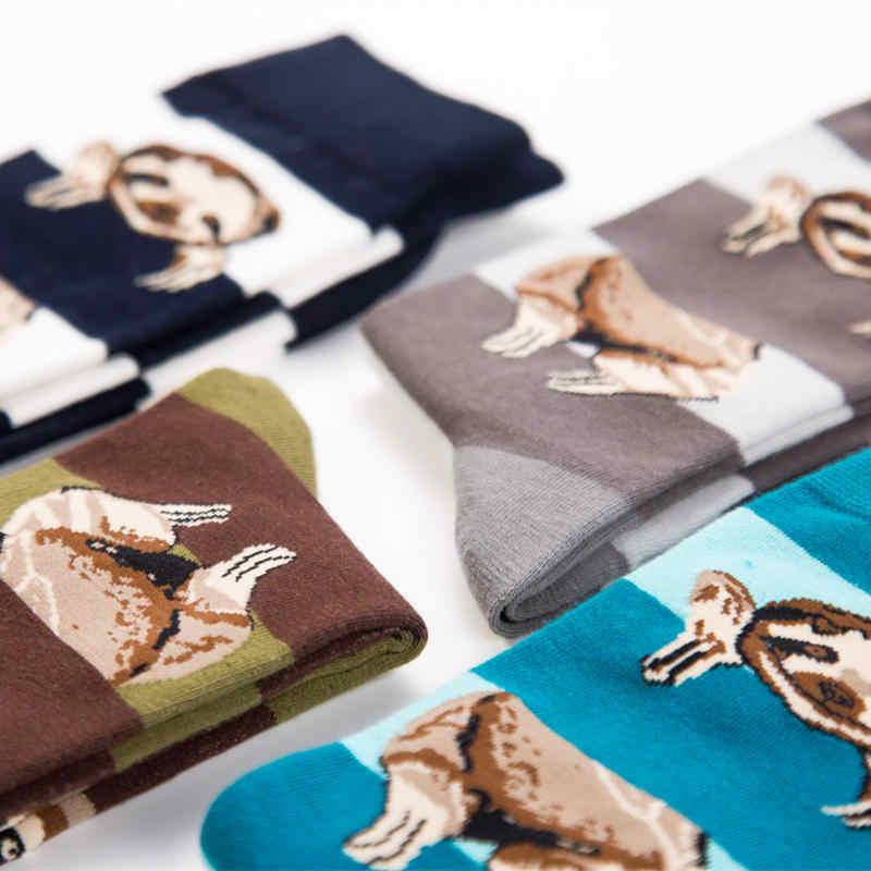 عارضة بتمشيط القطن الرجال جوارب بأشكال مضحكة الملونة البريطانية نمط سعيد الجوارب 4 ألوان الحيوان شريط طويل جورب للرجال الطاقم جورب